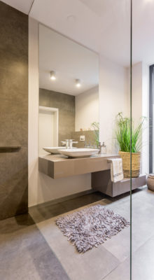 Stylish bathroom interior with sink and mirror